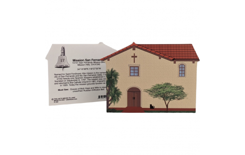 """Front & Back of Mission San Fernando, Los Angeles, CA. Handcrafted in the USA 3/4"""" thick wood by Cat's Meow Village."""