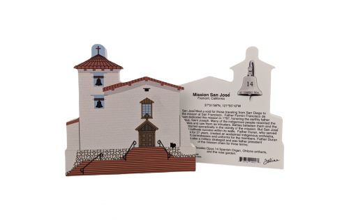 """Front & Back of Mission San Jose, Fremont, California. Handcrafted in the USA 3/4"""" thick wood by Cat's Meow Village."""