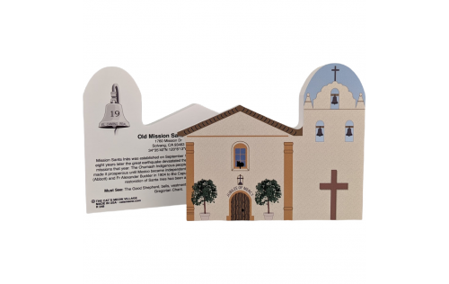 "Front & Back of Mission Santa Ines, Solvang, CA. Handcrafted in the USA 3/4"" thick wood by Cat's Meow Village."