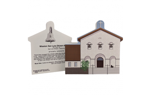 """Front & Back of Mission San Luis Obispo, San Luis Obispo, California. Handcrafted in the USA 3/4"""" thick wood by Cat's Meow Village."""