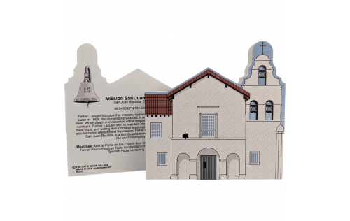 "Front & Back of Mission San Juan Bautista, California. Handcrafted in the USA 3/4"" thick wood by Cat's Meow Village."