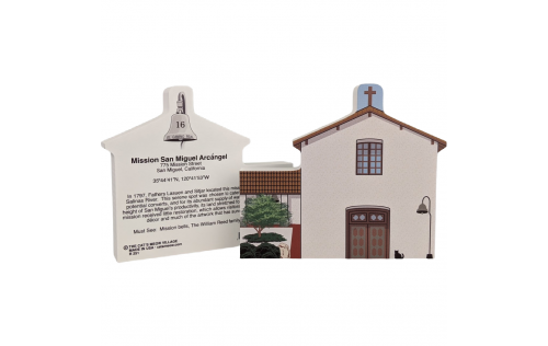 """Front & Back of Mission San Miguel Arcangel, California. Handcrafted in the USA 3/4"""" thick wood by Cat's Meow Village."""