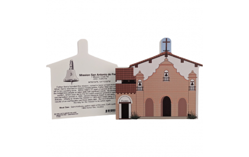 """Front & Back of Mission San Antonio De Padua, Jolon, California. Handcrafted in the USA 3/4"""" thick wood by Cat's Meow Village."""
