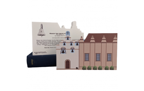"""Front & Back of Mission San Gabriel Arcangel, San Gabriel, CA. Handcrafted in the USA 3/4"""" thick wood by Cat's Meow Village."""