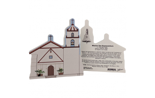 """Front & Back of Mission San Buenaventura, Ventura, CA. Handcrafted in the USA 3/4"""" thick wood by Cat's Meow Village."""