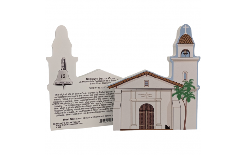 """Front & Back of Mission Santa Cruz, California. Handcrafted in the USA 3/4"""" thick wood by Cat's Meow Village."""
