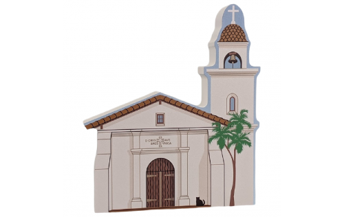 """Mission Santa Cruz, California. Handcrafted in the USA 3/4"""" thick wood by Cat's Meow Village."""