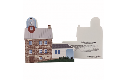 """Front & Back of Selkirk Lighthouse, Pulaski, New York. Handcrafted in the USA 3/4"""" thick wood by Cat's Meow Village."""