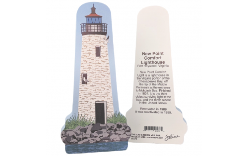 "Front & Back of New Point Comfort Lighthouse, Port Haywood, Virginia. Handcrafted in the USA 3/4"" thick wood by Cat's Meow Village."