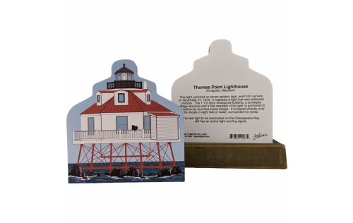 "Front & Back of Thomas Point Lighthouse, Annapolis, Maryland. Handcrafted in the USA 3/4"" thick wood by Cat's Meow Village."