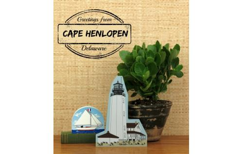 Home display of the Cape Henlopen Lighthouse and Bermuda Sloop made in the USA by The Cat's Meow Village