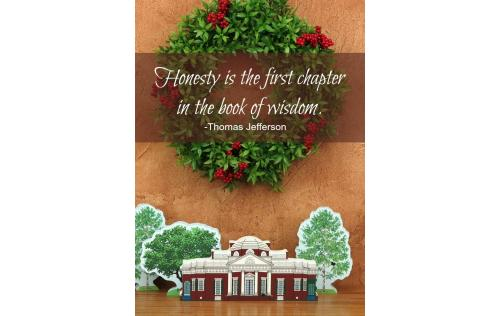 Wisdom by Thomas Jefferson, handcrafted wooden keepsake of Monticello for your home by The Cat's Meow Village
