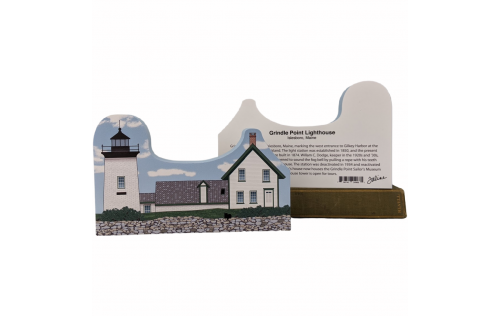 "Front & Back of Grindle Point Lighthouse, Islesboro, Maine. Handcrafted in the USA 3/4"" thick wood by Cat's Meow Village."