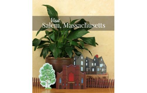 Remember your trip to Salem with a wooden keepsake of the House Of Seven Gables or Witch Museum to decorate your home created by The Cat's Meow Village
