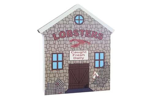 """Lobster Shanty, typical of New England fishing towns, handcrafted in 3/4"""" thick wood by The Cat's Meow Village in the USA."""