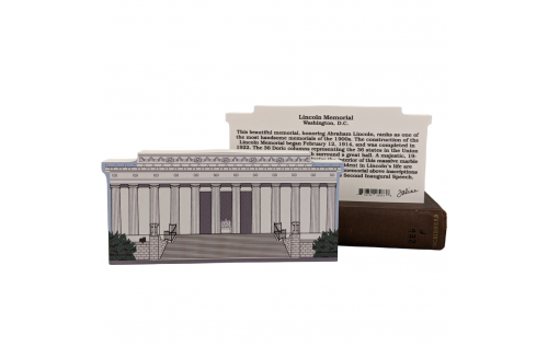 """Front & Back of Lincoln Memorial, Natl Mall & Memorial Parks, Washington DC, Lincoln, Gettysburg Address. Handcrafted in the USA 3/4"""" thick wood by Cat's Meow Village."""