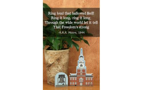 Quote from Sonnet by R.R.R. Moore, 1844. Handcrafted wooden Liberty Bell and Independence Hall by The Cat's Meow Village.