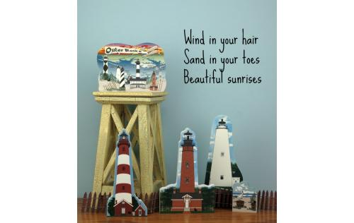Remember your trip to the beach with a wooden keepsake of the Currituck Beach Lighthouse to decorate your home created by The Cat's Meow Village