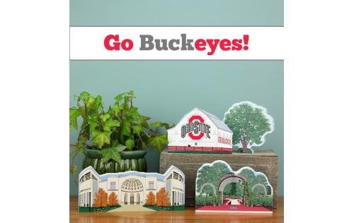 A grouping of OSU wooden keepsakes handcrafted by The Cat's Meow Village in Wooster, Ohio.