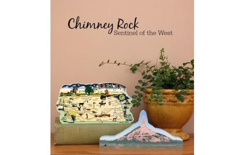 Cat's Meow Village handcrafted wooden replica of Chimney Rock and the Nebraska state map