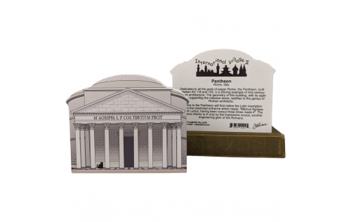 Front & Back of Wooden Cat's Meow Village keepsake of the Pantheon in Rome, Italy