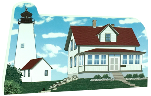 "Get your paws on this Bakers Island Light Station if you are a lighthouse lover! Handcrafted of 3/4"" thick wood by The Cat's Meow Village. Made in the USA."