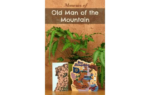 Handcrafted wooden shelf sitter of the historic Old Man Of The Mountain with the New Hampshire Map created by The Cat's Meow Village