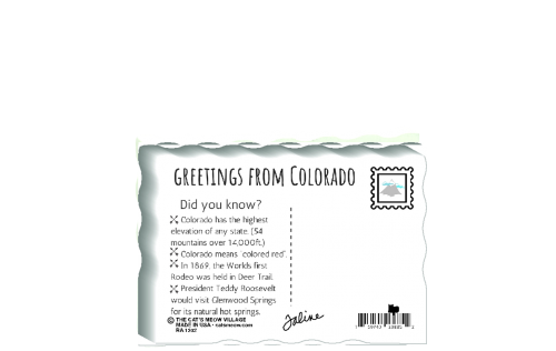 "This is the back of our 3/4"" thick postcard style Colorado flag. It includes a greetings and facts about Colorado. Crafted by The Cat's Meow Village in the USA!"