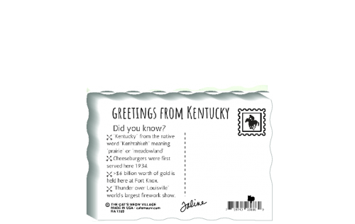 "This is the back of our 3/4"" thick postcard style Kentucky flag. It includes a greetings and facts about Kentucky. Crafted by The Cat's Meow Village in the USA!"
