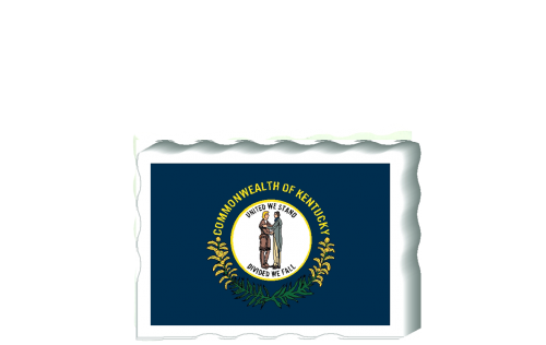 Slightly larger than a deck of cards, this wooden postcard version of the Kentucky flag can fit into any nook around your home or workplace showing off your state pride! Handcrafted in the USA by The Cat's Meow Village.