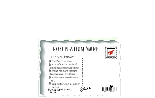 "This is the back of our 3/4"" thick postcard style Maine flag. It includes a greetings and facts about Maine. Crafted by The Cat's Meow Village in the USA!"