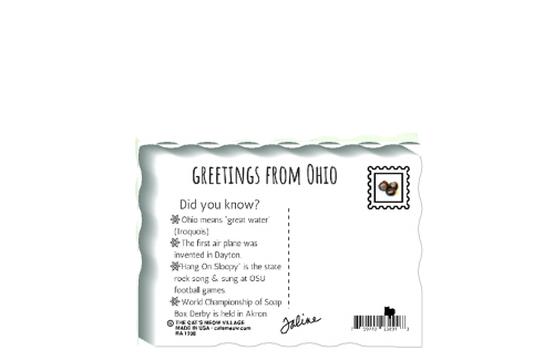 "This is the back of our 3/4"" thick postcard style Ohio flag. It includes a greetings and facts about Ohio. Crafted by The Cat's Meow Village in the USA!"
