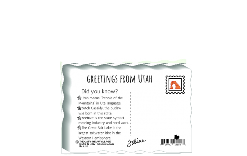 "This is the back of our 3/4"" thick postcard style Utah flag. It includes a greetings and facts about Utah. Crafted by The Cat's Meow Village in the USA!"