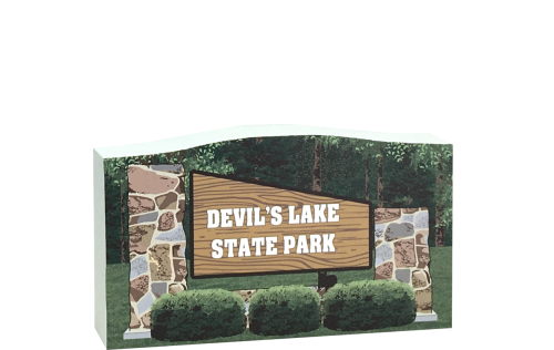 "Devil's Lake State Park sign keepsake handcrafted of 3/4"" thick wood to add to your home decor as a memory of fun times. Made in the USA by The Cat's Meow Village."