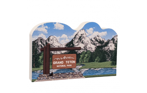 Grand Teton National Park got its name from the Grand Teton, the tallest mountain in the Teton Range. Add this beautiful scene to your collection!  Made of 3/4 in wood in the USA. at Cat's Meow Village.