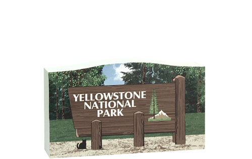 Wooden replica of the Yellowstone National Park sign in Idaho, Montana and Wyoming. Handcrafted in the USA by The Cat's Meow Village.