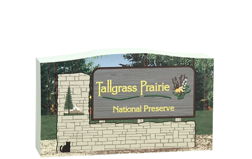 Wooden replica of Tallgrass Prairie National Preserve sign in the Flint Hills region of Kansas. Handcrafted by The Cat's Meow Village in the USA.