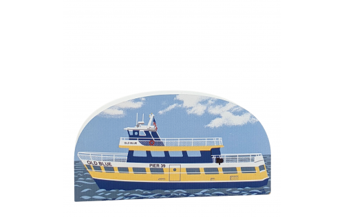 """The """"Old Blue"""" Ferry Boat in San Francisco, CA. handcrafted in 3/4"""" wood by the Cat's Meow Village in the USA."""