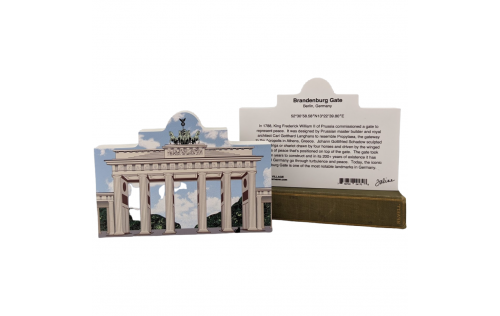 """Front & Back of Wooden replica of Brandenburg Gate, Berlin, Germany to add to your home decor. Crafted from 3/4"""" thick wood by The Cat's Meow Village."""