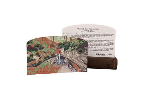Front & Back of detailed scene of Mammoth Cave National Park, Kentucky.  Handcrafted by Cat's Meow Village in Wooster, Ohio.