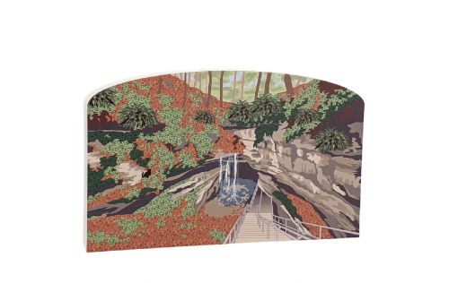 """Colorful detailed scene of Mammoth Cave National Park, Kentucky.  Handcrafted in 3/4"""" thick wood by The Cat's Meow Village in the USA."""