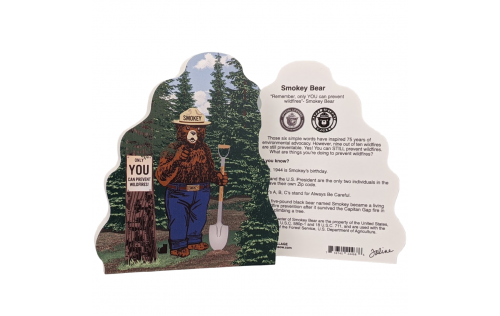 "Front & Back of Smokey the Bear. Handcrafted of 3/4"" thick wood in Wooster, Ohio by The Cat's Meow Village."