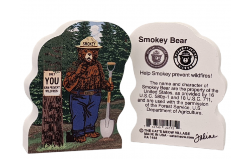 "Front & Back of Smokey the Bear, small.  Handcrafted of 3/4"" thick wood in Wooster, Ohio by The Cat's Meow Village."