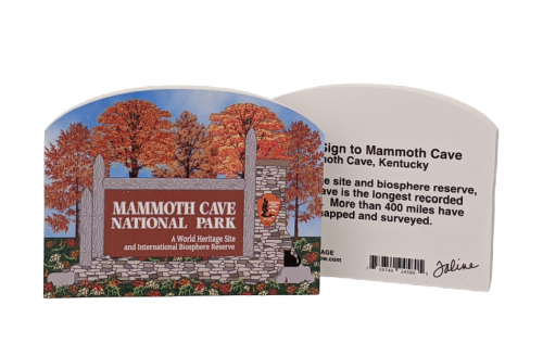 """Front & Back of Entrance sign to Mammoth Cave, Mammoth Cave Nat'l Park, Kentucky.  Handcrafted in 3/4"""" thick wood by The Cat's Meow Village in the USA."""
