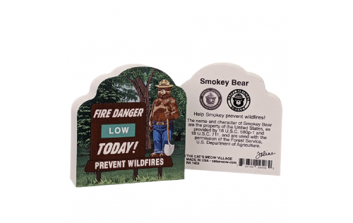 """Front & Back of Smokey Bear w/ Fire Danger Today! Sign.  Handcrafted by Cat's Meow Village in Wooster, Ohio in 3/4"""" wood."""