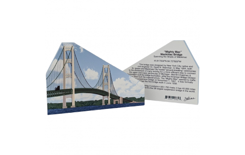 """Front & Back of Mackinac Bridge, St Ignace, Michigan. Handcrafted in the USA 3/4"""" thick wood by Cat's Meow Village."""