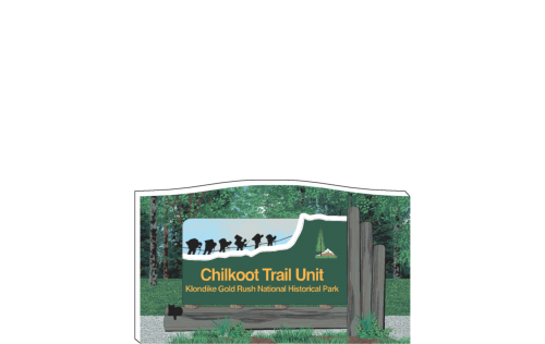 "Detailed replica of the Chilkoot Trail Unit Sign, Call of the Wild, Alaska, handcrafted in the USA 3/4"" thick wood by Cat's Meow Village."