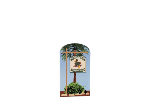 """Colorful replica of The Mucky Duck Sign, Captiva Island, Florida. Handcrafted in the USA 3/4"""" thick wood by Cat's Meow Village."""