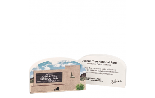 "Front & Back description of Joshua Tree National Park Sign, Twentynine Palms, California. Handcrafted in the USA 3/4"" thick wood by Cat's Meow Village."