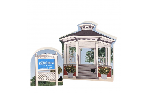 """Town Sign and Gazebo, Stars Hollow, Gilmore Girls. Handcrafted in the USA 3/4"""" thick wood by Cat's Meow Village."""